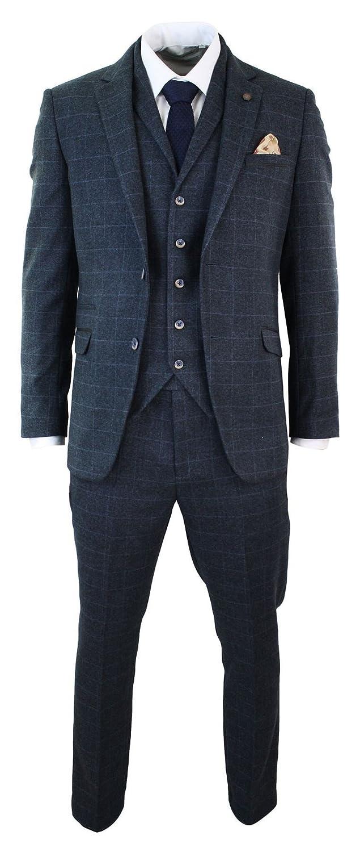 cavani Mens Navy Check Herringbone Tweed Vintage Tailored Fit 3 Piece Suit Navy