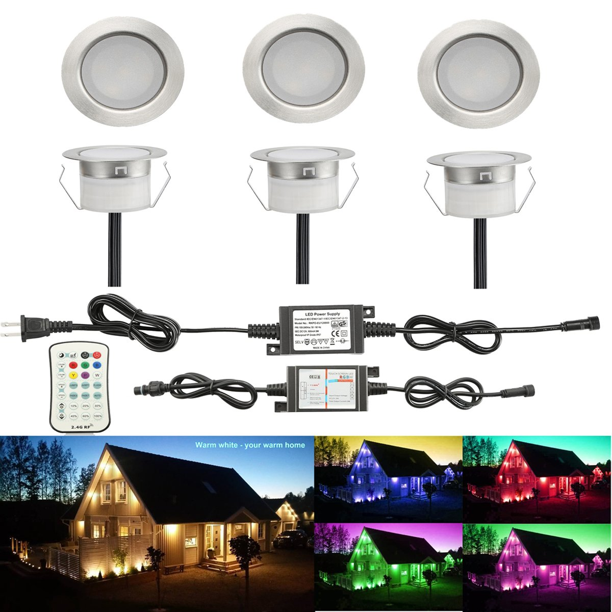 FVTLED Pack of 6 Low Voltage LED Deck Lighting Kit Stainless Steel Waterproof Outdoor Landscape Garden Yard Patio Step Decoration Lamp LED In-ground Light (6pcs, RGBW)