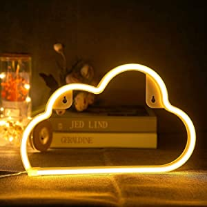 OHLGT LED Neon Light, Neon Sign Warm White Cloud for Wall Decor, Battery and USB Operated Neon Decorative Lights for The Home, Kids Bedroom, Bar, Party, Wedding, Christmas, Halloween, Valentine's Day