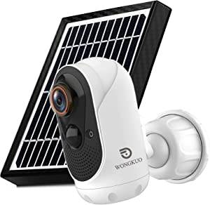 [2021 Upgraded] Wireless Outdoor Security Camera, WONGKUO 1080P WiFi Solar Battery Powered Home IP Camera Surveillance Cameras with Night Vision,Two-Way Audio,Motion Detection and IP65 Waterproof
