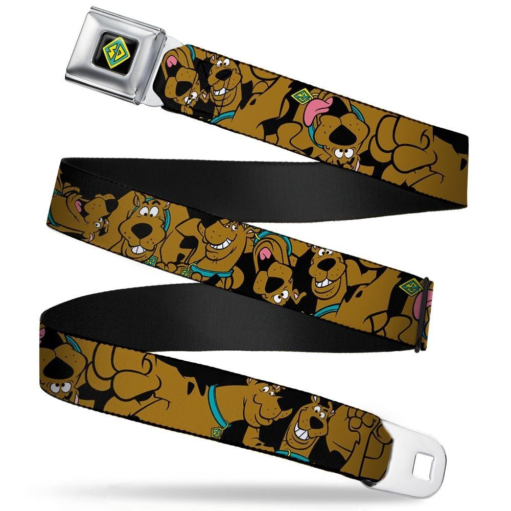 Buckle-Down Seatbelt Belt - Scooby Doo Stacked C/U Black - 1.5'' Wide - 24-38 Inches in Length