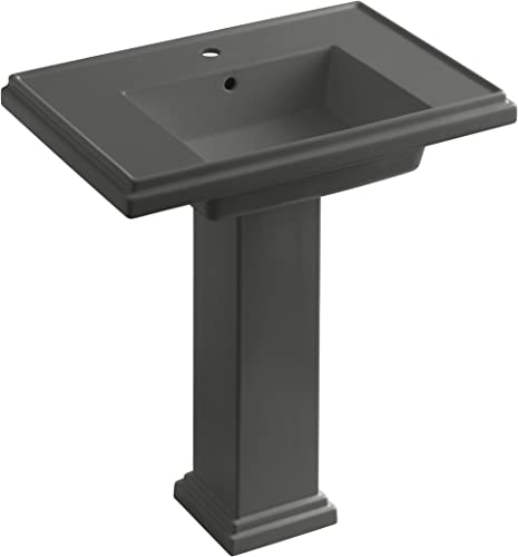 KOHLER K-2845-1-58 Tresham 30-inch Pedestal Bathroom Sink with Single-Hole Faucet Drilling, Thunder Grey