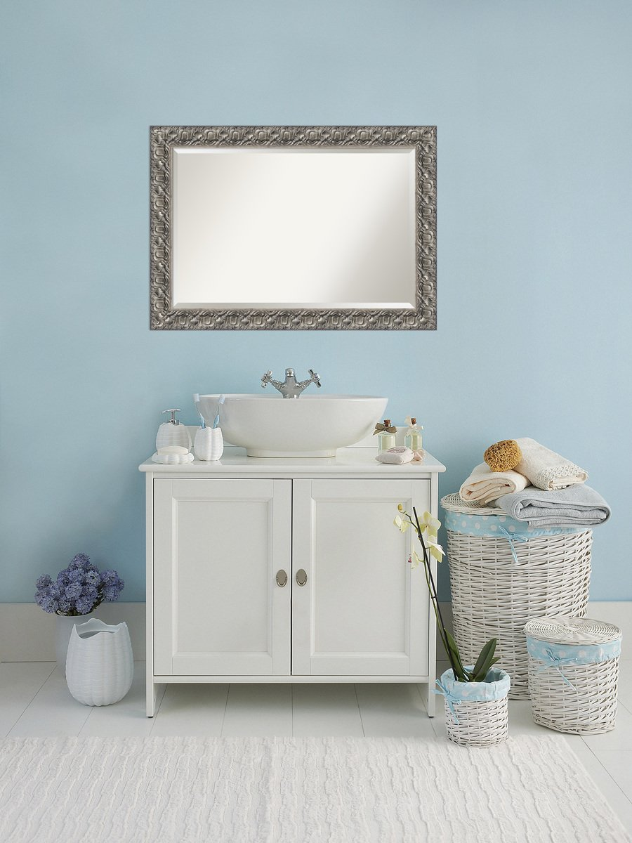 """Bathroom Mirror Extra Large, Silver Luxor: Outer Size 42 x 30"""""""