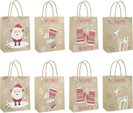 8 White Card Designs are Very Suitable for Christmas Wine Bottles Christmas Wine Bottle Gifts and Other Gifts QingZe-14 Christmas Wine Bags with Christmas Theme 8 Pcs Kraft Paper Designs