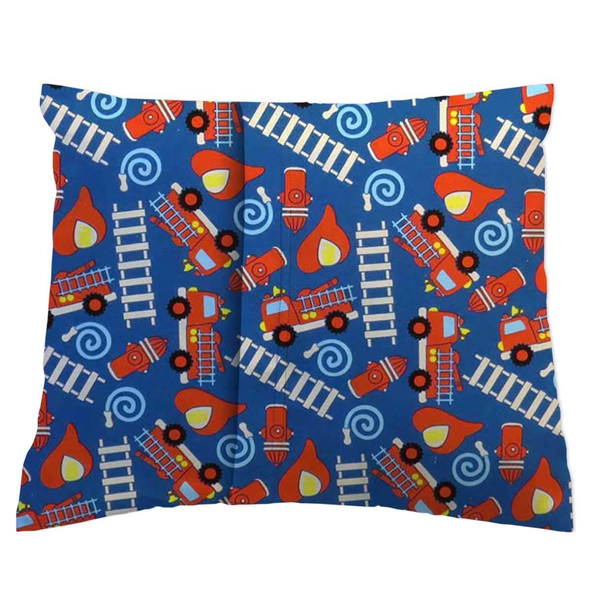 Fire Trucks Blue 13 x 17 100/% Cotton Woven Made in USA SheetWorld Crib Toddler Pillow Case