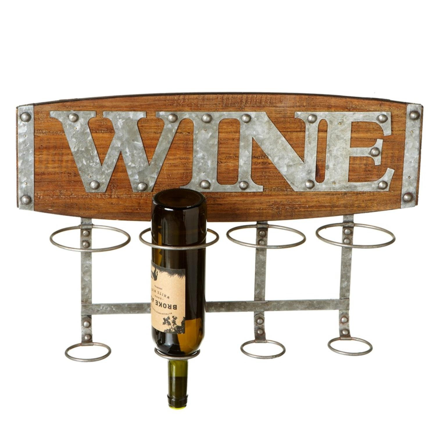"""21.5"""" Brown and Gray Rustic Look Wall Mounted Wine Rack with Word Plaque"""