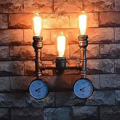 Applique murale à tubes d'eau, SUN RUN Applique murale à 3 lumières industrielles Vintage Metal avec style rétro pour bar, cuisine, salon et chambre à coucher, lampe à douille E26