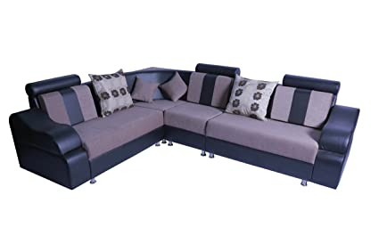Mood Of Wood Black And Cream L Shaped Corner Sofa Set With Cushion