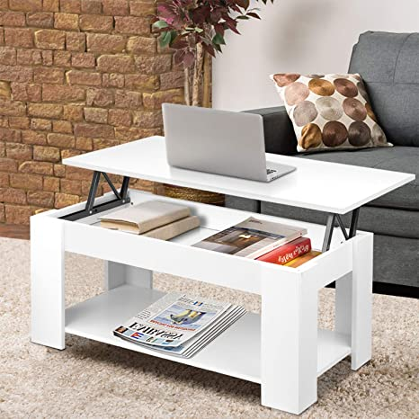 Coffee Table Storage Folding Coffee Table For Living Room Modern Coffee Table Large Hidden Compartment Wood Folding Extendable Living Room Furniture White Amazon De Kuche Haushalt