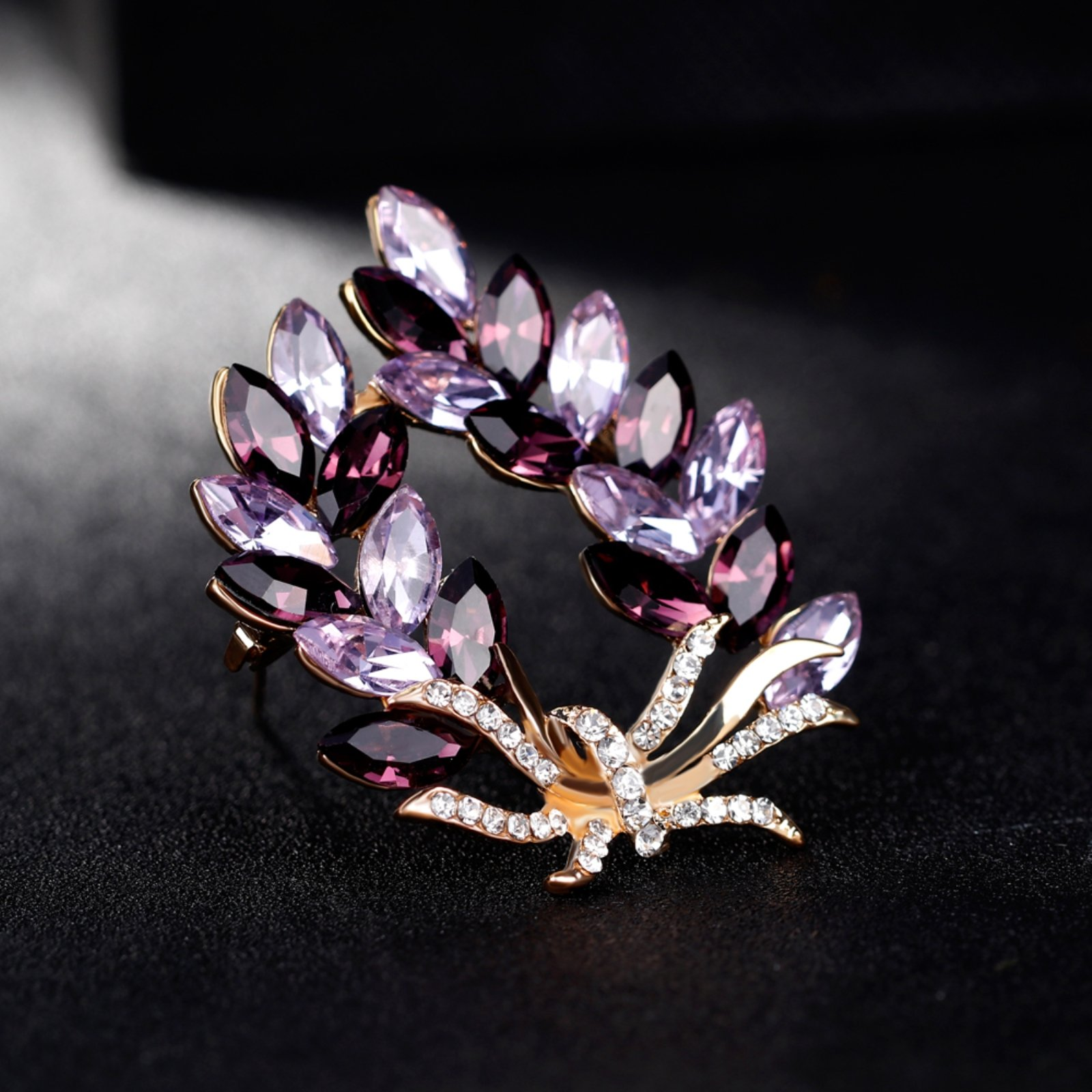 ptk12 Coat Accessories Purple Crystal Flower Casual Party Bouquets Rhinestone Brooch by ptk12 (Image #8)