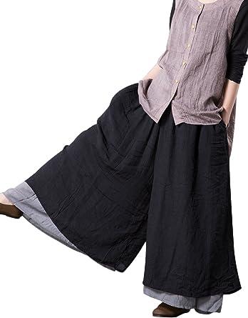 Vogstyle Mujer Verano Casual Algodón Lino Capas Pantalón Ancho Pantalones Negro L: Amazon.es: Ropa y accesorios