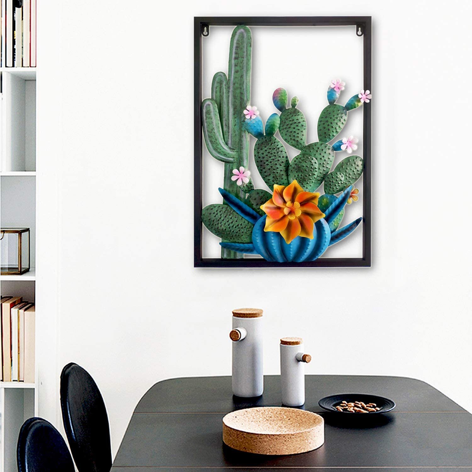 Metallic Iron Wall Art MagicPro Cactus Wall Decor Hand-Painted Large Metal Wall Mount for Indoor Decor