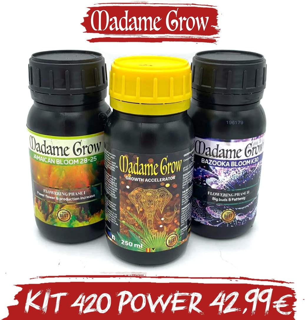 MADAME GROW / Kit 420 Power/Tripack/Fertilizantes o abonos orgánicos Especiales/Marihuana o Cannabis/Poder para Tus Plantas (3 x 250 ml)