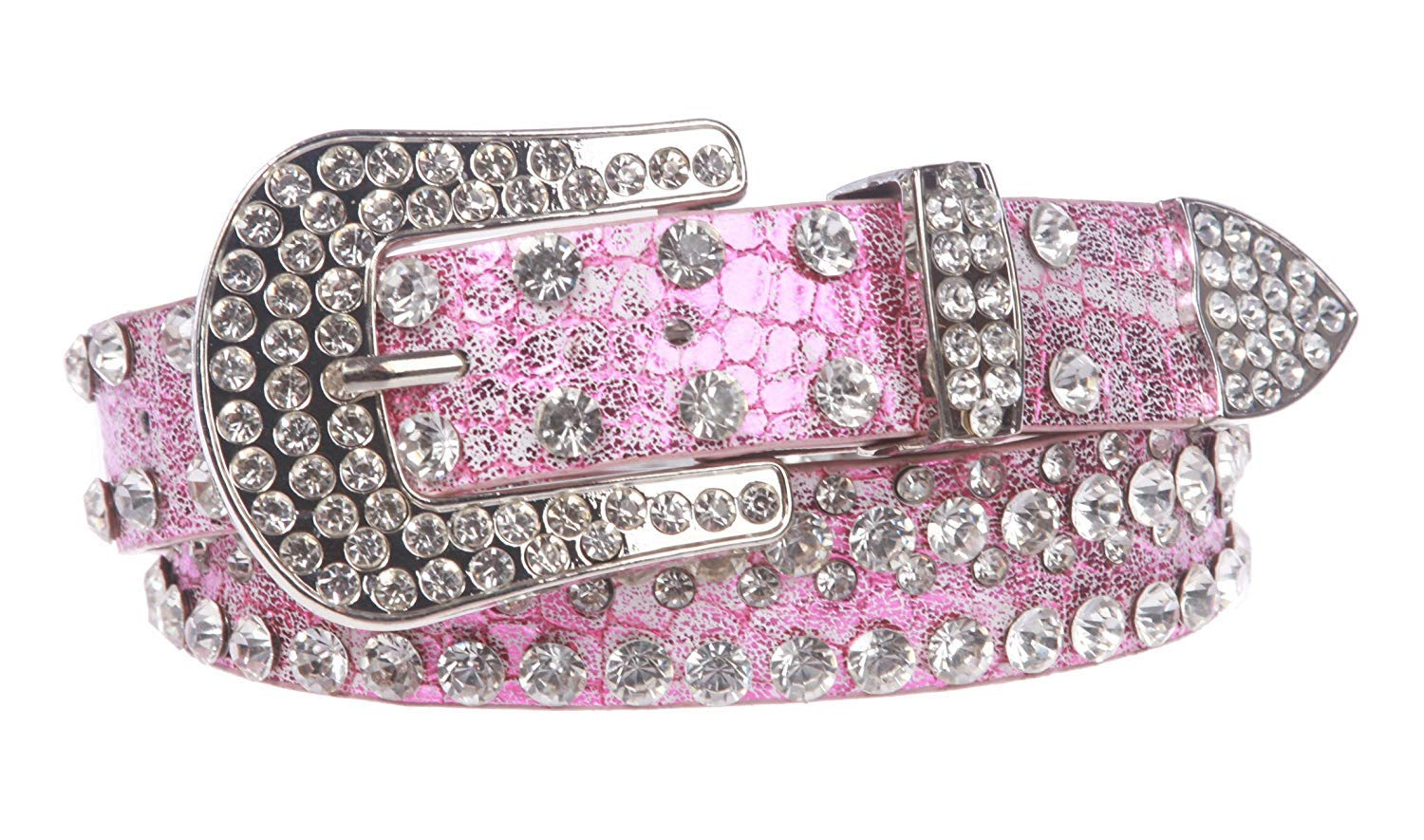 MONIQUE Kids Stylish Western Cowgirl Rhinestone Studded Skinny 27 mm Wide Belt,Hot Pink 28 Inch