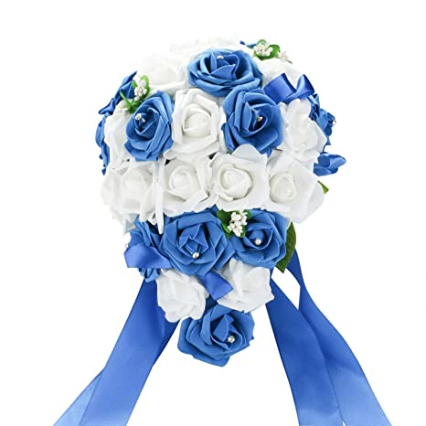 Starlifey artificial flowers real touch blue rose wedding bouquet starlifey artificial flowers real touch blue rose wedding bouquet silk roses posy valentines dayweddinghome mightylinksfo