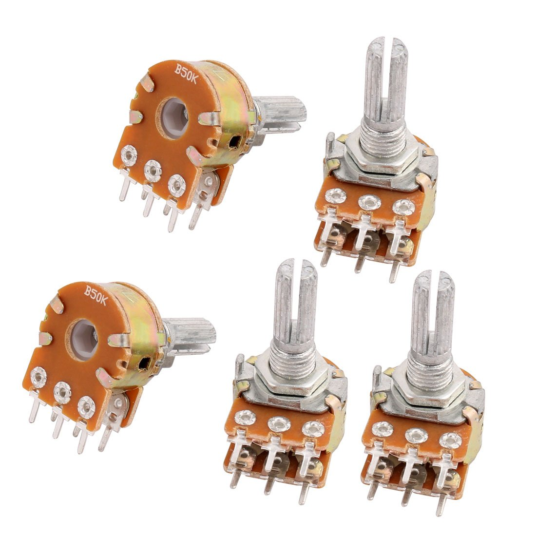 sourcing map 5 Pcs B50K 50K ohm 6 Pins Split Shaft Rotary Linear Dual Taper Potentiometers 032043