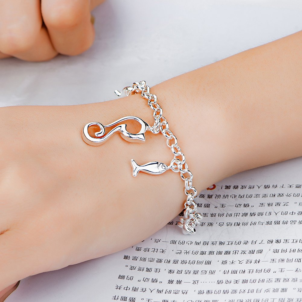 Amazon.com: fashionbeautybuy Women Bracelet Fish Cat Shape Pendant Hollow Out Bangle Silver Plated Body Chain Jewelry Wristband: Jewelry