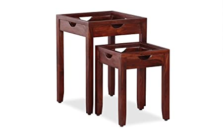 Ringabell Engraft Solid Wood Nest of Table Set of 2 (Walnut Finish)