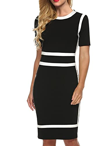 ANGVNS Women's Scoop Neck Optical Illusion Business Bodycon Dress