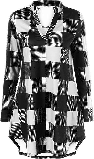 Vectry Moda Mujer Cuello En V Manga Larga Larga A Cuadros Estampado Casual Top Blusa Camisas Elegante Camisa Casual 2019 Mujer Blusa Primavera Y Otoño: Amazon.es: Ropa y accesorios
