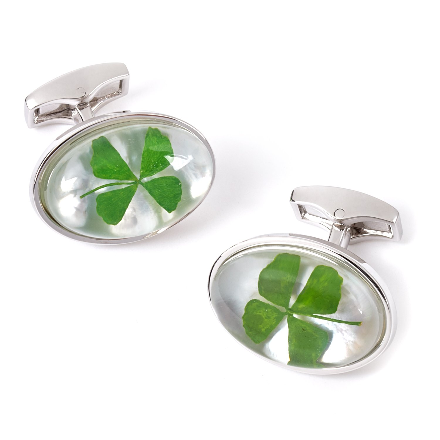 Tateossian Four Leaf Clover Cufflinks, Rhodium Silver casing CL7009