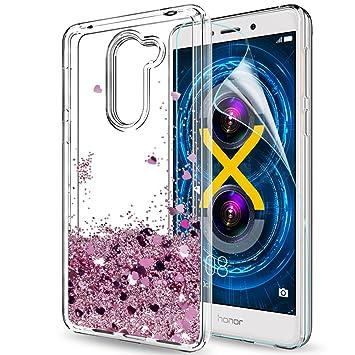 LeYi Funda Huawei Honor 6X / Mate 9 Lite Silicona Purpurina Carcasa con HD Protectores de Pantalla,Transparente Cristal Bumper Telefono Gel Fundas ...