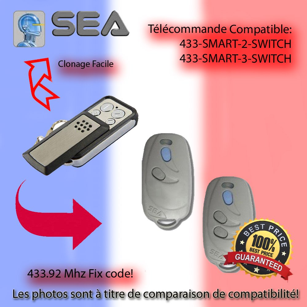Telecommande 433.92 MHz Pour SEA 433-SMART-2 SWITCH, 433-SMART-3-SWITCH Remplacement,Clone