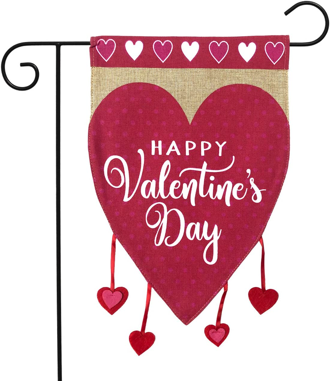 "Briarwood Lane Happy Valentine's Hearts Burlap Garden Flag Holiday Love 12.5"" x 18"""