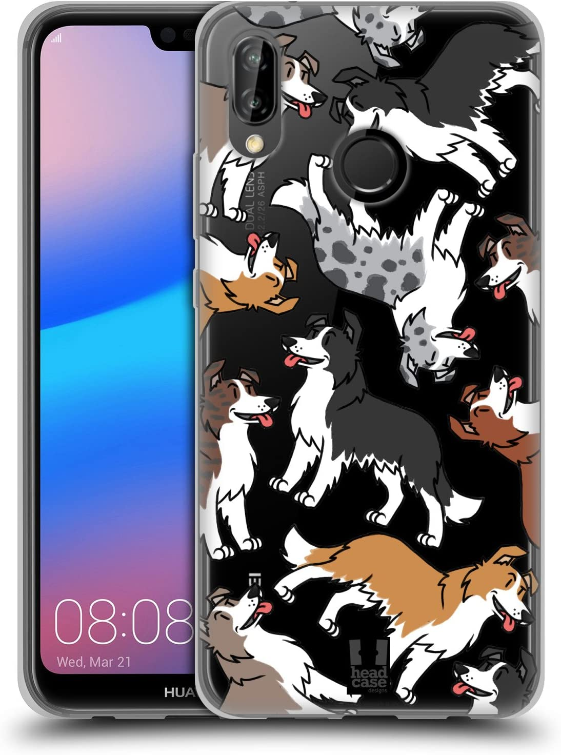 Head Case Designs Border Collie Dog Breed Patterns 6 Soft Gel Case and Matching Wallpaper Compatible With Huawei P20 Lite