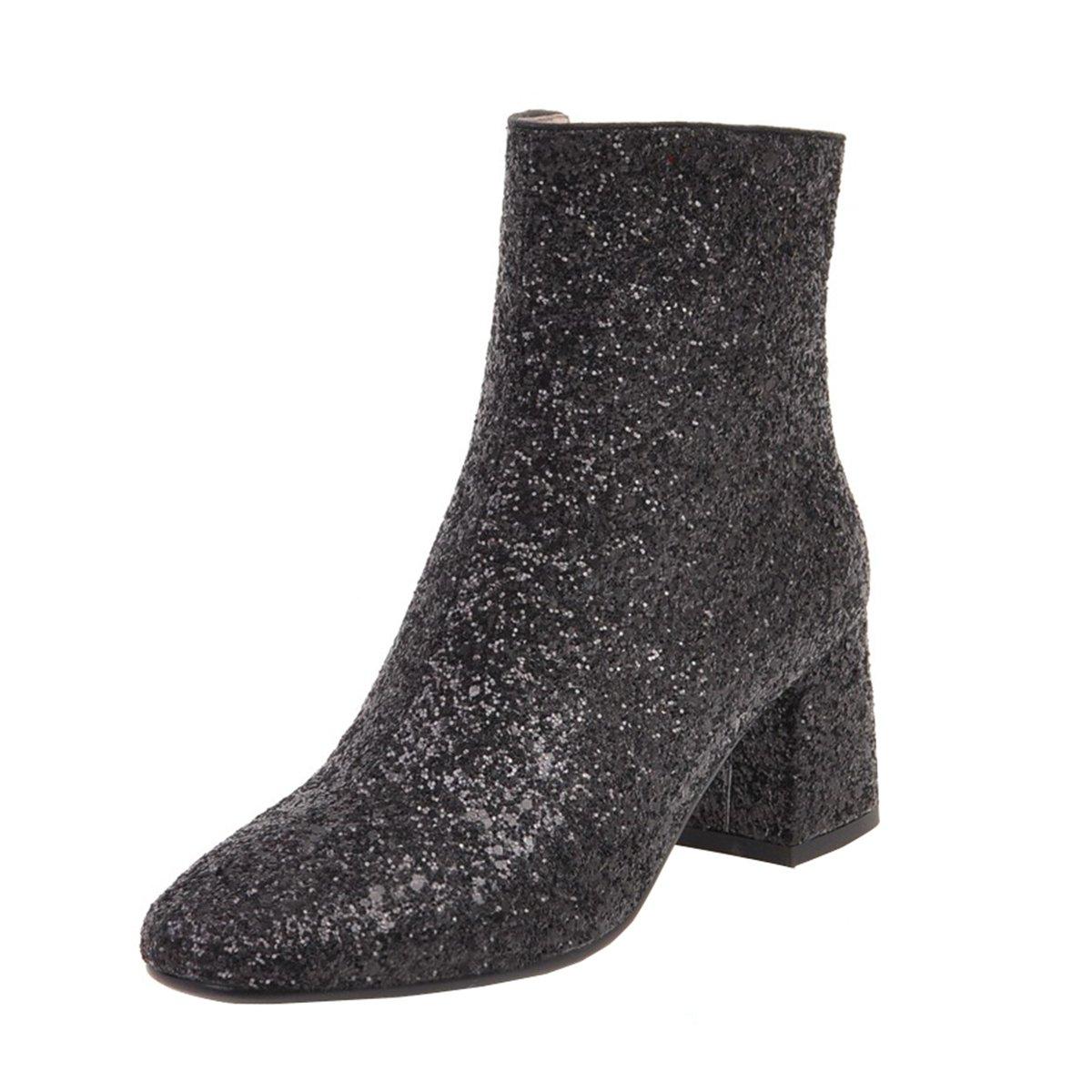 YE Damen Blockabsatz Heels Ankle Stiefel Glitzer Stiefeletten High Heels  Blockabsatz mit Reißverschluss und Pailletten Elegant Modern Schuhe Schwarz  ec555b a39a697226