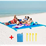 Beach Blanket Mat Sand Proof, Large Size 275 x 213cm for 8 Adults with 6 Weightable Pockets + 4 ABS Tent Pegs. Waterproof Portable Lightweight Picnic Blanket for Outdoor Travel Camping Hiking Climbing