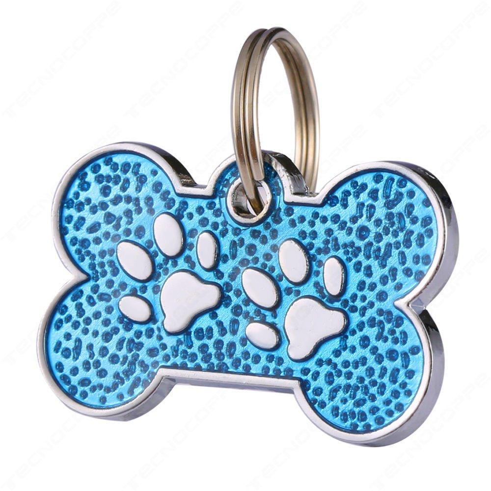 Medalla Hueso para perro azul purpurina con anelletto grabado personalizada tecnocoppe