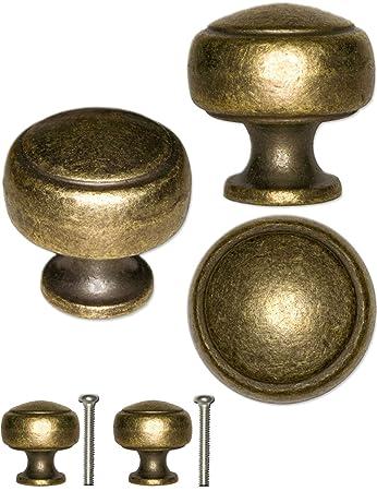 FUXXER®   2x Griffe Antik Knöpfe | Landhaus Vintage Design Bronze Messing  Möbel Küche Buffet