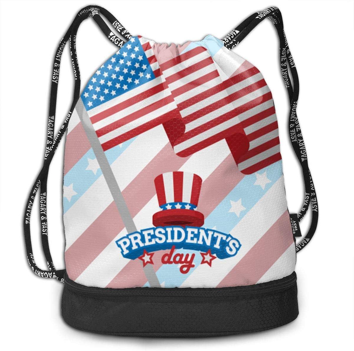 Zol1Q Lightweight Waterproof Large Storage Drawstring Bag for Men /& Women Presidents Day Cinch Backpack Sackpack Tote Sack