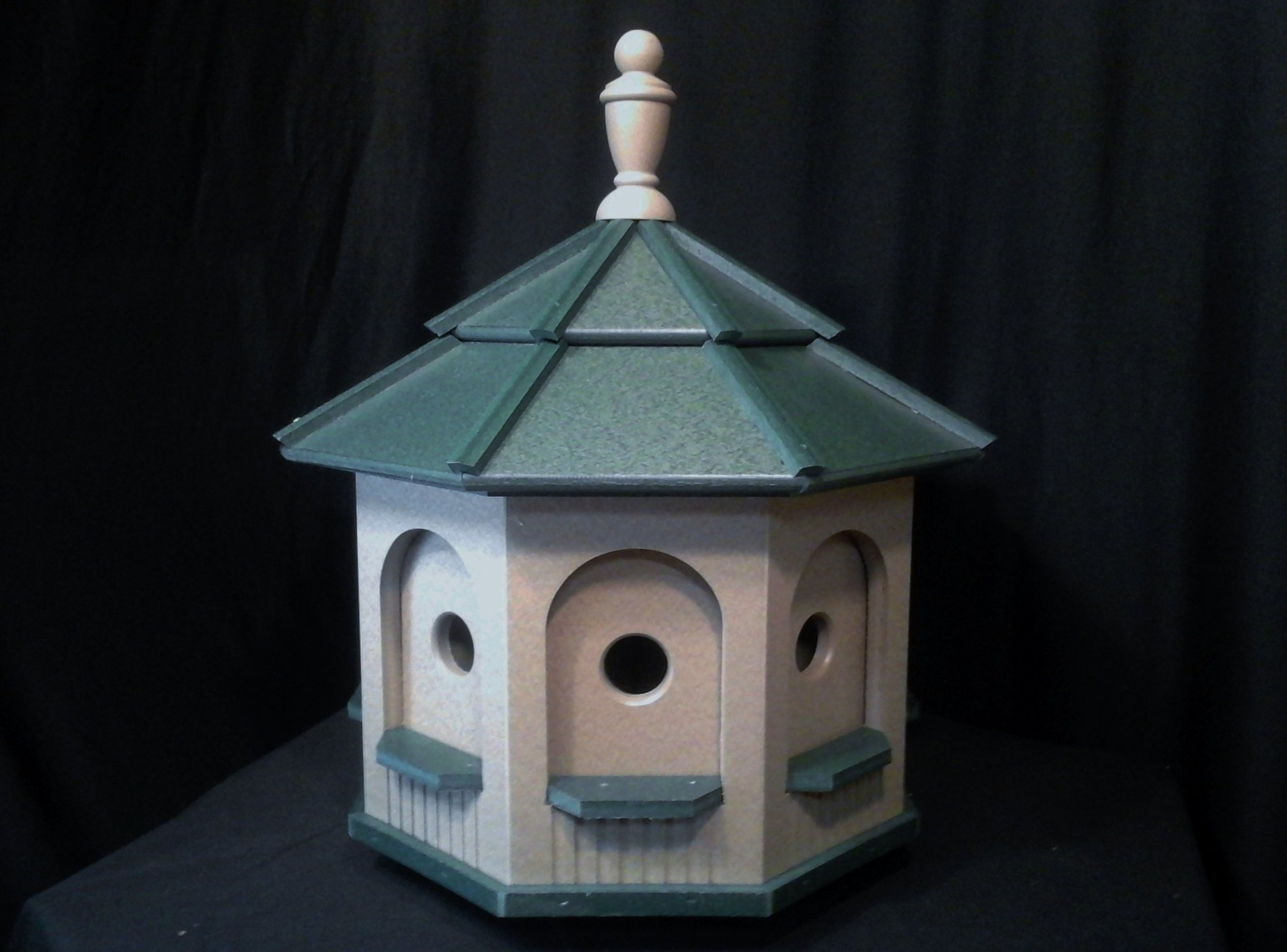 Large Poly Octagon Handcrafted Handmade Homemade Birdhouse Garden Clay & Green Roof