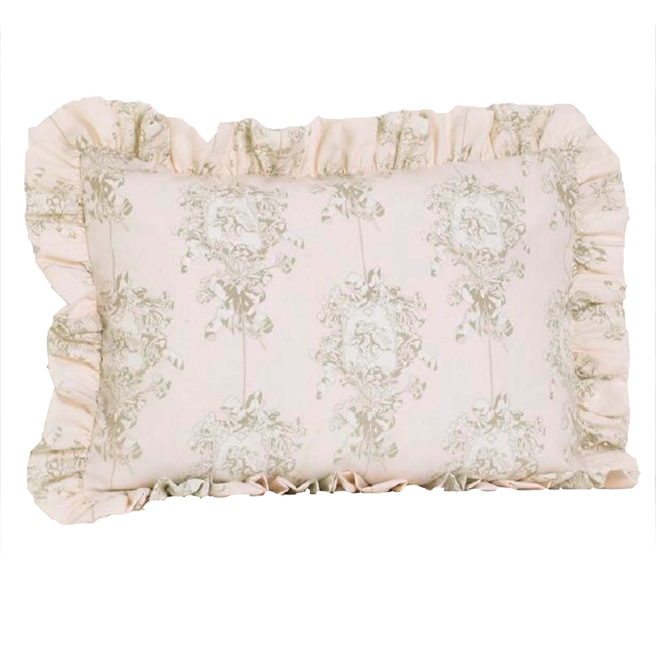 Cotton Tale Designs 100% Cotton Pink, Cream/Off White, Tan Floral Angel Toile Lollipops & Roses Standard Ruffled Pillow Sham - Girl - Pillow Cover by Cotton Tale Designs