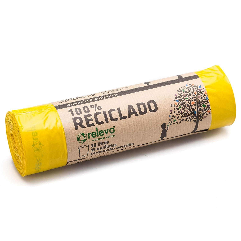 RELEVO Basura 30 lt (56 x 60 cm), Bolsa 100% reciclada para Cubo Normal, Rollo con 15 uds, Color Amarillo Cierre fácil y antigoteo Etiqueta pefc ...