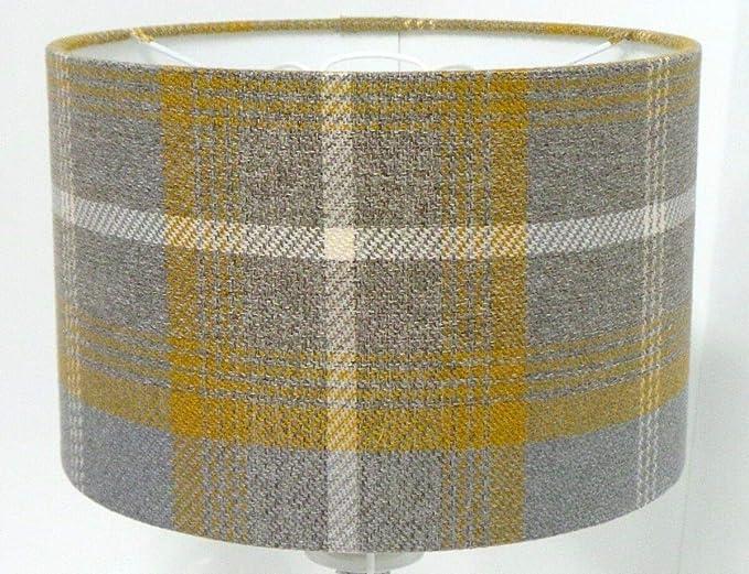 Pantalla para lámpara de mesa (40 cm), color gris y amarillo ...