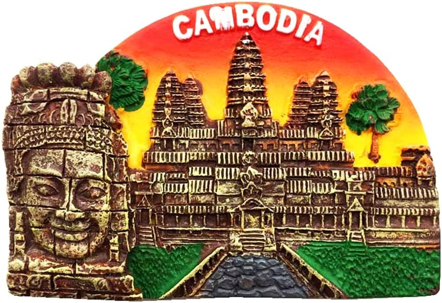 Cambodia Khmer Smile Statue 3D Travel Souvenir Gift Fridge Magnet Home & kitchen Decor Polyresin Craft Refrigerator Magnet Collection