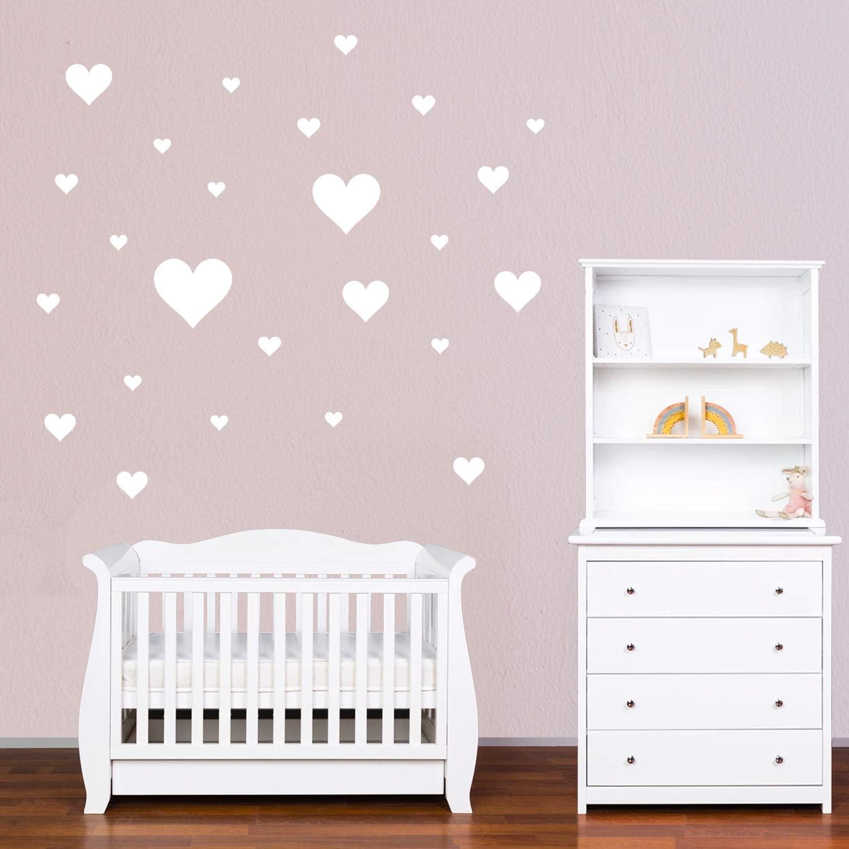 Wall Stickers Muro Cameretta Decorazione Parete Camera da Letto Bianco PREMYO Set 25 Adesivi Murali Bambini Cuori