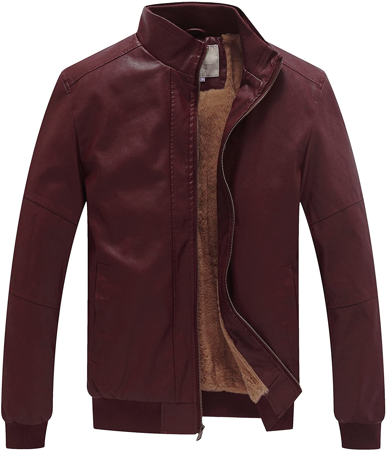 WenVen Mens Winter Stand Collar Moto Bomber Faux Leather Jackets