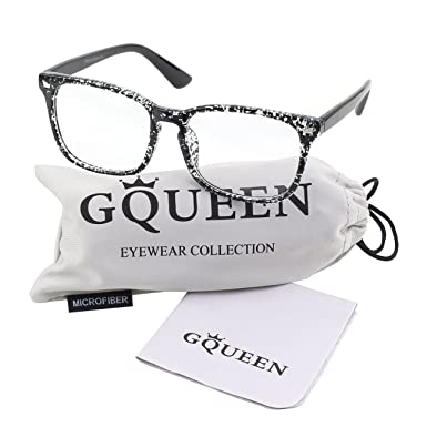 e40f1b1668 GQUEEN Large Oversized Frame Horn Rimmed Clear Lens Glasses PE2   Amazon.co.uk  Clothing