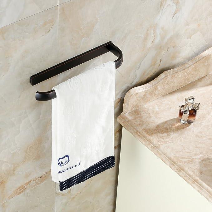 Bronze bathroom towel holder half ring Nick