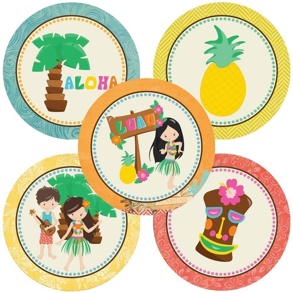 Luau Party Sticker Labels Summer Birthday Baby Shower Bridal Wedding Party Supplies Set of 50