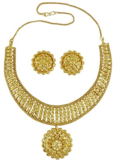 Bridal & Wedding Party Jewelry Engagement & Wedding Analytical 18k Goldplated Designer Ethnic Wedding Party Traditional Necklace Set Jewellery