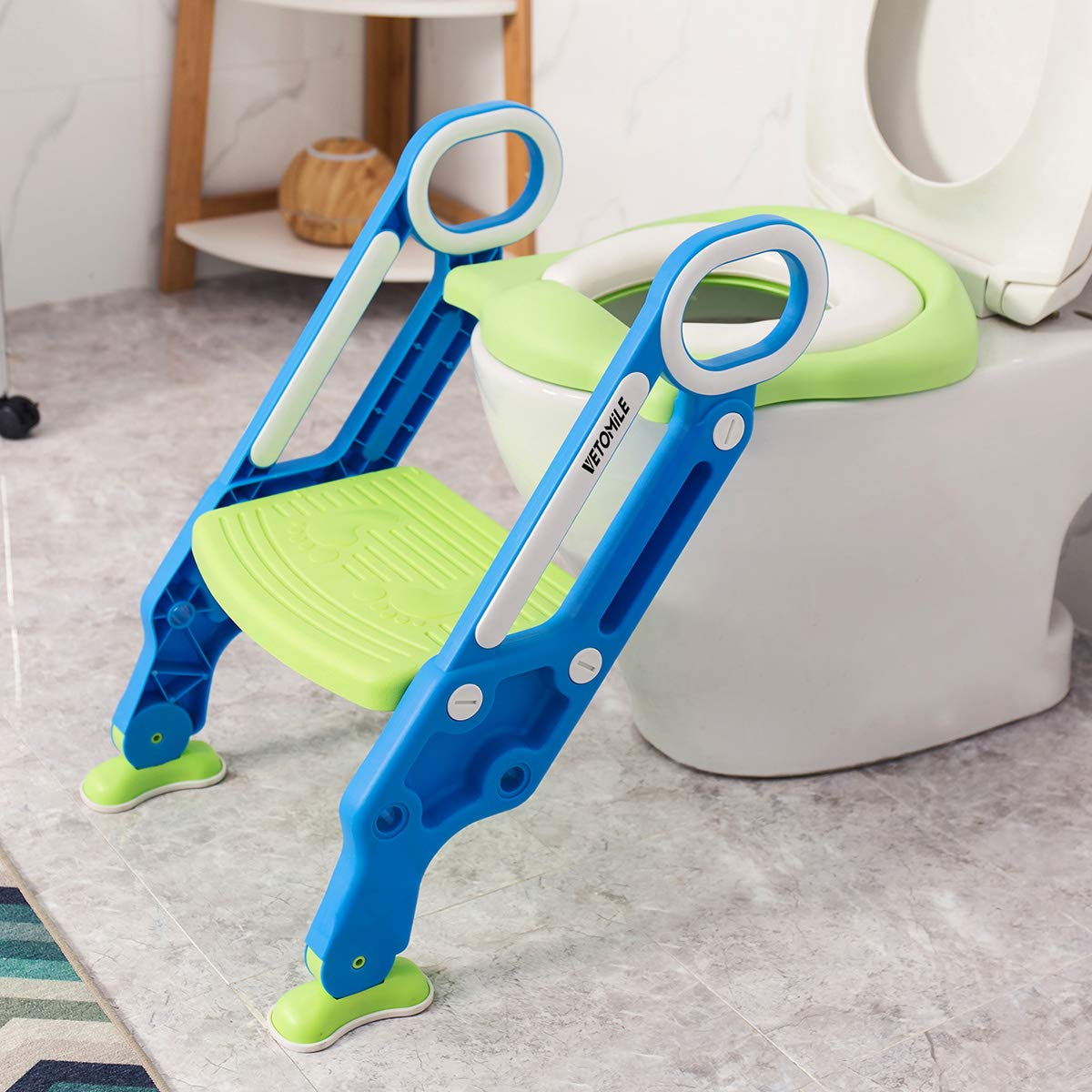 VETOMILE Baby Potty Toilet Trainer Seat for Children Kids Toddles with Adjustable Sturdy Non-Slip Step Stool Ladder and 2 PU Leather Replaceable Soft Padding Suitable for O V U Shaped-Toilets by VETOMILE