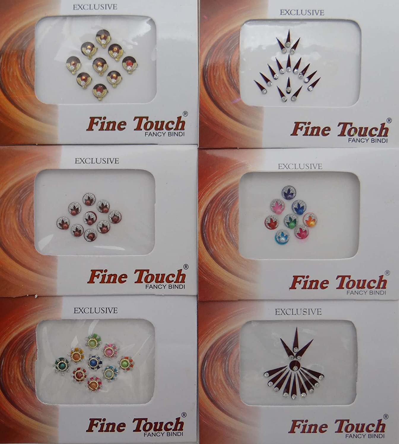 Pack Of 6 Bindi Forehead Bridal Sticker Self Adhesive Indian Accessory Ibacrafts