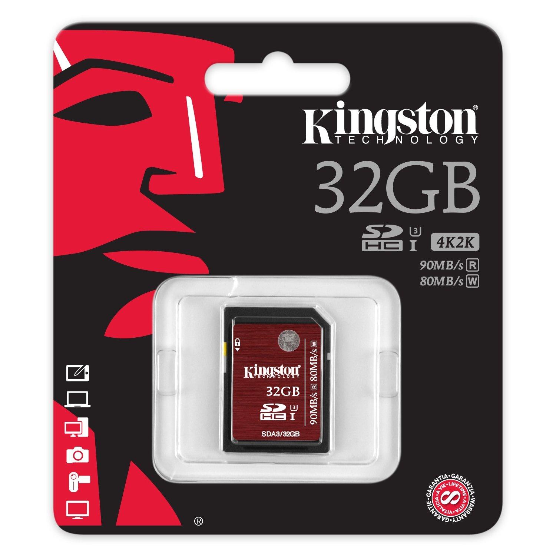 Kingston SDA3/32GB - Tarjeta de Memoria SDHC/SDXC UHS-I U3, 32 GB velocidades 90R/80W