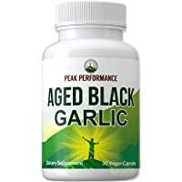 Organic Aged Black Garlic Capsules. Raw Vegan Pure Odorless Extract Supplement Pills for Blood Pressure, Cholesterol, and Immune Support. from Garlic Bulb with S-Allyl Cysteine and Antioxidants