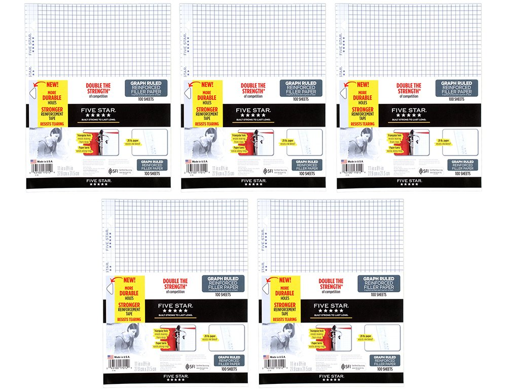 Five Star Filler Paper, Graph apTCl Ruled, Reinforced, Loose-Leaf, 11 x 8 1/2'' Sheet Size, 100 Sheets (5 Pack)